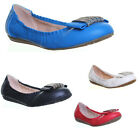 13057 Womens Flat Sole Pump Round Toe Slip On Ladies Summer Pump Ballerina Shoes