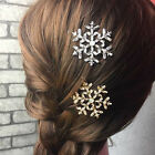 New 2Pc Snowflake Women's Crystal Rhinestone Hair Pin Clips Barrette Hairpins