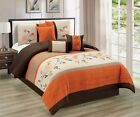 7pc Embroidered Floral Scroll Pleated Orange/Chocolate/Taupe/Tan Comforter Set