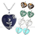 Heart Shape Crystal Stone Silver Rose Alloy Pendant for Chain Necklace Love Gift