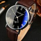 Fashion Men's Women's Leather Stainless Steel Military #LE Quartz Wrist Watch US