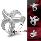 Women Silver Plated Starfish Rings Simple Knuckle Finger Rings Jewekry US 7 8