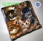 "ZooFleece 60X60"" Blanket Gray Throw Quilt Cat Kittens Feline Winter Paws Thermal image"