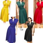 AU SELLER 50'S Vintage V-Neck Rockabilly Retro Cocktail Party Office Dress dr043