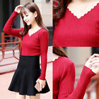 Fashion Womens Long Sleeve V-neck T-Shirt Knitted Sweater Casual Blouse Tops