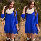 USA New Women Long Sleeve Solid Cotton Lace Casual Party Tunic Mini Shirt Dress