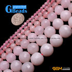 Rose Pink Jade Faceted Round Beads For Jewelry Making Free Shipping Strand 15""