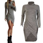 WOMENS POLO NECK TOP STRETCH BODYCON PENCIL DRESS LONG SLEEVE TURTLE TOPS JUMPER