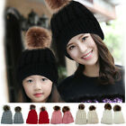 2PCS Mutter Kind Hut Warme Winter Ski-Kappen Beanie Pelz Pom Häkelarbeit Mode