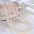 Beautiful 3 rows 7-7.5mm Natural White AAA+ Grade Pearl necklace