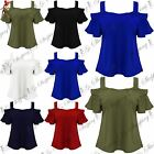 Ladies Womens Wide Strappy Cold Cut Off Shoulder Peplum Short Sleeve Swing Top