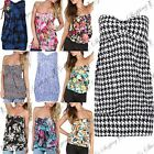 Ladies Womens Ruched Front Boobtube Bandeau Sheering Roses Floral Knot Top