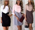 New hot fashion women long sleeve warm splicing leisure loose dresses
