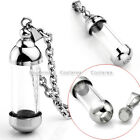 Fashion Clear Acrylic Bottle Open Holder Memorial Steel Pendant Chain Necklace