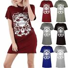 Womens Ladies Skull Enemy Within Living Dead Batwing Sleeve Long T Shirt Dress