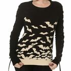 Banned White Bats Lace Up Sleeve Knitted Gothic Witch Haunted Diva Black Jumper
