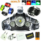 BORUiT 3xXM-L T6 LED Headlamp Zoom Headlight 2x18650 USB Head Lamp Hunting Torch