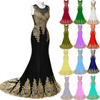 Gold Applique Long Formal Dress Prom Gown Evening Dress Wedding Bridesmaid Gown