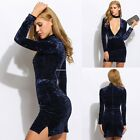 Women's Deep V-neck Dress Ladies Long Sleeve Bodycon Velvet Short Mini Dresses