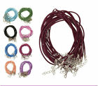 2MM Lot 10/100PCS Leather DIY with Lobster Clasp Charms Cord Necklace Wholesale