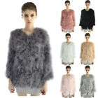 Women Winter Real Ostrich Turkey Fur Feather Coats Jackets Warm New 7 Colors
