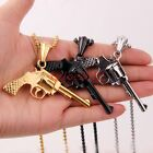 New Men's Cool Cowboy Stainless Steel Revolver Pendant Necklace Free Box Chain