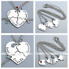 3/4pcs Silver Heart Puzzle Rhinestone Pendant Chain Necklace Friendship Jewelry