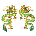 Yellow Green Chinese Dragon Embroidered Patches Sewing Iron on Patches Applique