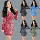 Celeb Women Bandage Bodycon Long Sleeve Evening Club Party Cocktail Mini Dress
