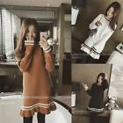 Korean Women Autumn Winter Knit Sweater Casual Loose Pullover A Line Tunic Dress