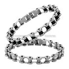 Punk Unisex Stainless Steel Rubber Bicycle Chain Links Bracelet Bangle Wristband