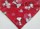 Snoopy Peanuts Valentine's Day Dog Bandana, over the collar Scarf, red hearts