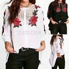 Women Blouse New 3/4 Sleeve Floral Ladies Hollow T shirt Loose Short Tops Button
