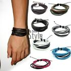 New Mens Cool Multilayer Wrap Synthetic Leather Braided Rope Bracelet TXST