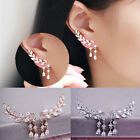 Dangling Tassel Leaves Ear Stud Crystal Rhinestone cuff Earrings Silver or Gold