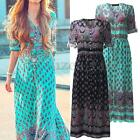 Women Summer V Neck Front Open Vintage Floral Beach Boho Long Maxi Sun Dresses