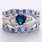 Silver Plated Sapphire Cletic Irish Claddagh Ring Wedding Set Promise Ring New