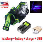 Tactical 50000LM 5X XML T6 LED Rechargeable Headlamp 18650+Headlight+Charger USA фото