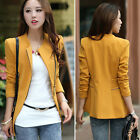 2017 New Womens Ladies Slim Coat Suit Jacket Zip Zipper Blazer OL Casual Tops