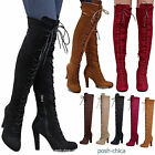 boot lace up - New Women DA14 Stretchy Lace Up Over the Knee Thigh High Combat Heel Boot 5.5-10