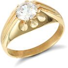 9ct Gold CZ 10 Claw Solitaire Gypsy Ring