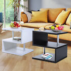 2 Line Side End Coffee Table Storage Shelves Sofa Couch Living Room Furniture