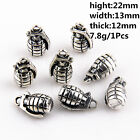 2/5/20Pcs Znic Alloy 3D Solid Grenades Charms Pendants For DIY Making 22mm