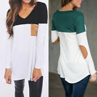 Fashion Women's Casual Long Sleeve T-Shirt Blouse Loose Cotton Tops Shirt Black
