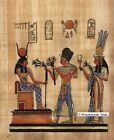 "Egyptian Papyrus Painting - Ramsis II and his wife 8X12"" + Hand Painted #57"
