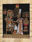 "Egyptian Papyrus Painting - Tut and Wife 8X12"" + Hand Painted + Description #47"