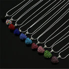 Fashion Women Pendant Jewelry Crystal Heart 925 Sterling Silver Necklace ChainLA