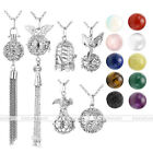 Fashion Lava Stone Chakra Gemstones Alloy Openable Locket Pendant Chain Necklace
