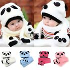 Boy's &Girls Baby Toddler Infant Beanie Hat Cap + Cartoon Panda Scarf Suit TXCL