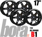 "17"" BOLA B1 BLACK 5 STUD 7.5J SET OF 4 NEW ALLOY WHEELS FOR Volvo C30 06-10"